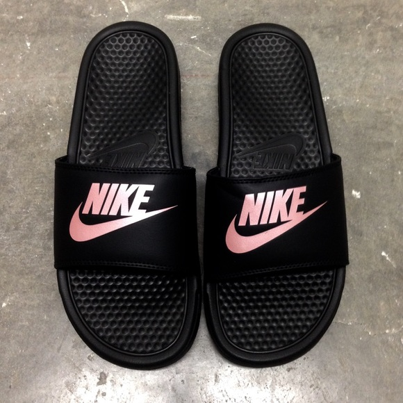 best cheap 5789b a4bdc WMNS NIKE BENASSI SLIDES JUST DO IT JDI BLACK ROSE